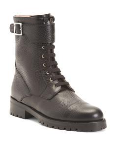 Made In Italy Pebbled Lug Sole Leather Combat Boots
