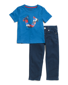 Little Boys 2pc Camo Tee And Denim Set