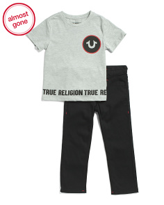 Little Boys Logo Tee And Denim Set