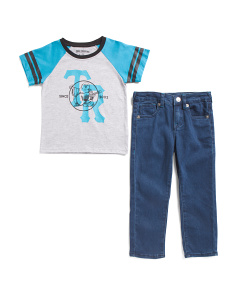 Little Boys 2pc Raglan Tee And Denim Set
