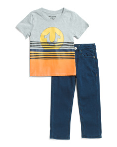 Little Boys Sunset Tee And Denim Set