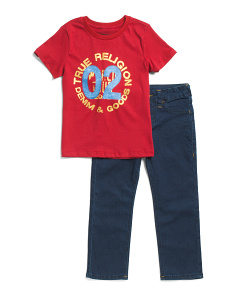 Little Boys Tee And Denim Set