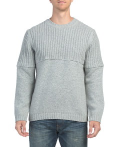 Wool Blend Split Crew Sweater
