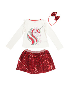 Girls 2pc Sequin Unicorn Skirt Set With Bow