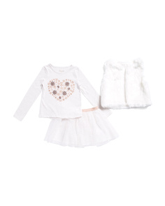 Girls 3pc Faux Fur Vest And Skirt Set