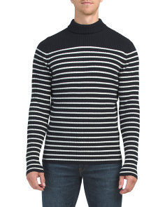 Cashmere Bretton Stripe Turtleneck Sweater