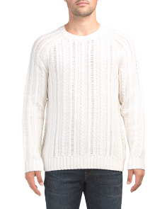 Wool Blend Cable Knit Crew Neck Sweater