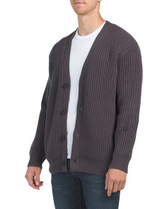 Wool & Cashmere Distressed Rib Cardigan