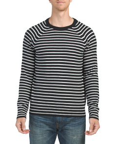 Merino Wool Striped Crew Neck Sweater