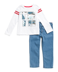 Little Boys Long Sleeve Tee And Denim Set