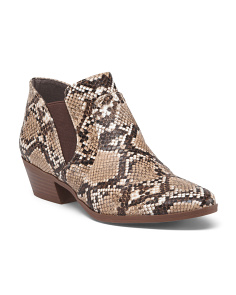 Snakeskin Embossed Ankle Booties