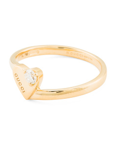 Made In Italy 18k Gold And Diamond Heart Gg Running Ring