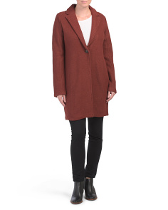 Wool Blend Oversized Blazer With Seaming Detail