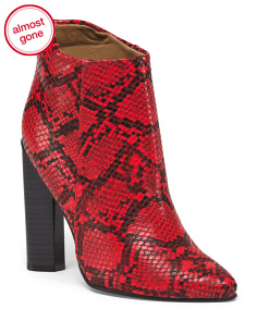 Snakeskin Embossed High Heel Booties