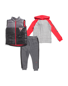 Little Boys 3pc Puffer Vest And Fleece Jogger Set