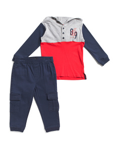 Little Boys Long Sleeve Tee And Twill Jogger Set