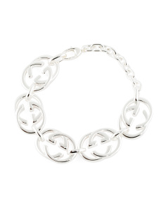 Made In Italy Sterling Silver Trademark Double G Bracelet