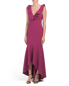 Ruffle Neck Hi Lo Gown