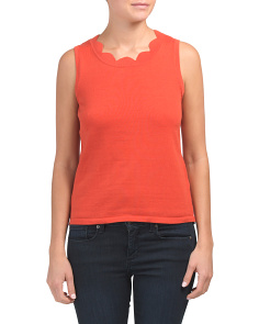 Sleeveless Scallop Neck Shell Top