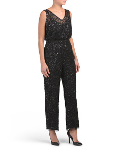 Petite All Over Sequin Jumpsuit