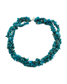 Sterling Silver Apatite Chip Torsade Necklace