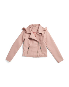 Big Girls Faux Leather Ruffle Jacket