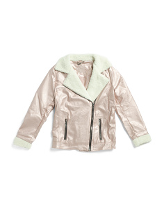 Big Girls Metallic Faux Leather Jacket