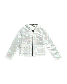 Big Girls Metallic Hologram Rain Jacket