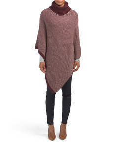Made In Italy Jacquard Turtle Neck Poncho
