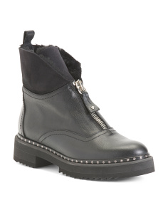 Made In Italy Front Zip Leather Boots