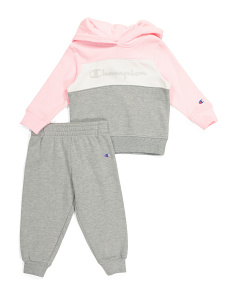 Toddler Girls Color Block Hoodie And Fleece Jogger Set