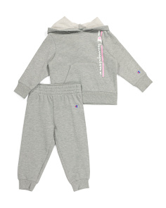 Toddler Girls Pullover Hoodie And Fleece Jogger Set
