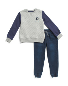 Little Boys Quilted Fleece Set