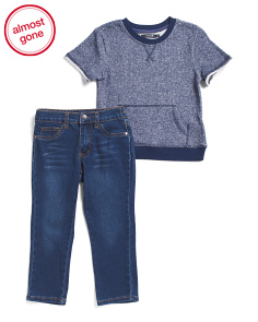 Little Boys Short Sleeve Top And Denim Pant Set