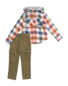 Little Boys Flannel Hoodie And Cargo Pant Set
