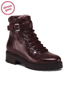 Made In Italy Lace Up Combat Booties