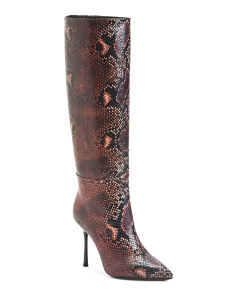 Made In Italy Snakeskin Embossed Leather Tall Boots