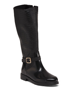 Knee High Croc Embossed Rain Boots