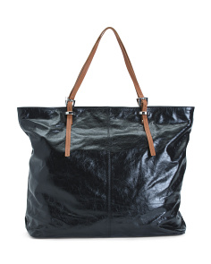 Leather Tote With Contrast Handles