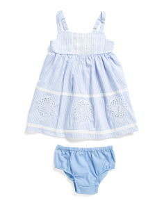 Infant Girls Lace Dress With Bloomers