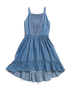 Toddler & Little Girls Chambray Lace Dress