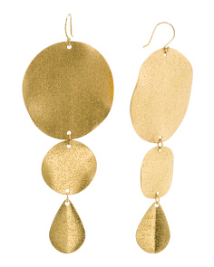 Textured Gold Tone Sparkle Disc Drop Earrings