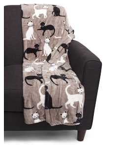 Cailey Cat Printed Pet Throw
