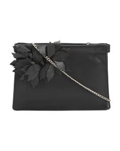 Sofia Leather Clutch With Chain Shoulder Strap