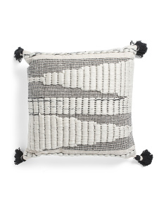 22x22 Handwoven Pillow With Tassels