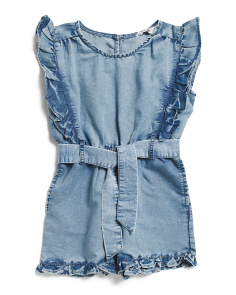 Little Girls Lace Trim Chambray Romper