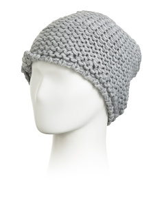 Made In Italy Link Stitch Hat With Bow Applique