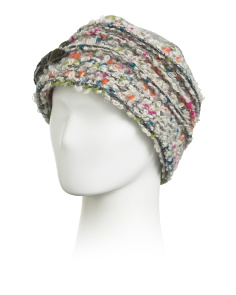 Made In Italy Wool Blend Multi Boucle Hat With Bow Applique