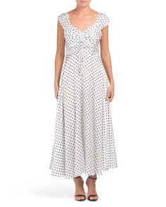 Polka Dot Printed Charmeuse Maxi Dress