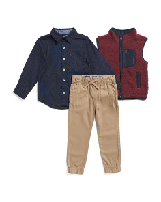 Little Boys 3pc Sweater Vest And Jogger Set